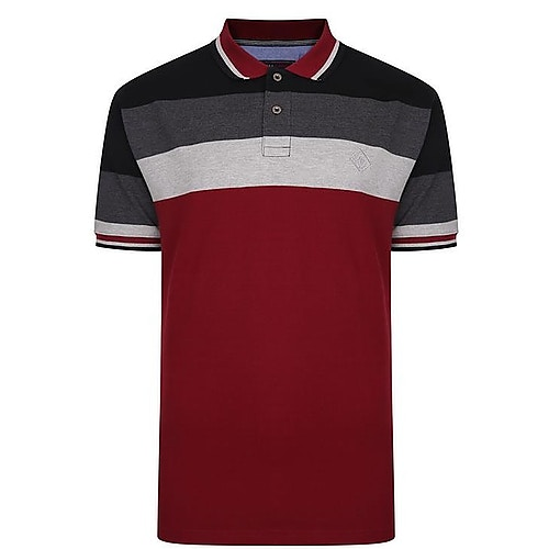 KAM Contrast Stripe Polo Shirt Grey