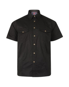 KAM Retro Stretch Short Sleeve Shirt Black