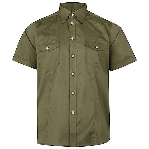 KAM Retro Stretch Short Sleeve Shirt Khaki