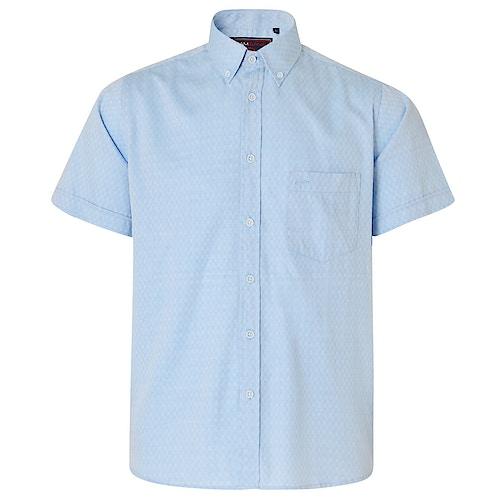 KAM Herringbone Short Sleeve Shirt Sky