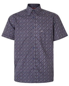 KAM Dobby Print Short Sleeve Shirt Navy