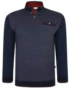 KAM Dobby Print Quarter Zip Top Navy