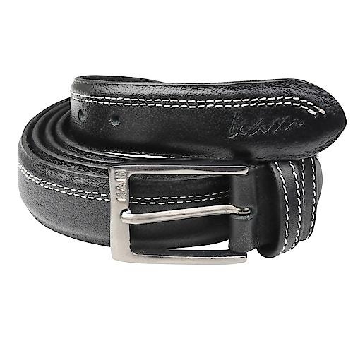 KAM Leather Trouser Belt Black