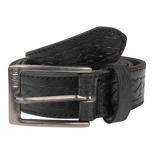 KAM Leather Basket Weave Pattern Belt Black