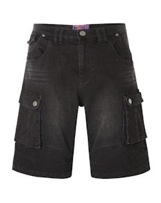 KAM Ivan Denim Cargo Shorts Black