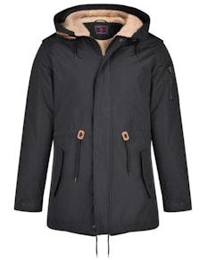 KAM Sherpa Lined Parker Coat  Black