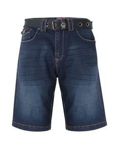 KAM Lopez Belted Denim Shorts Dark Wash