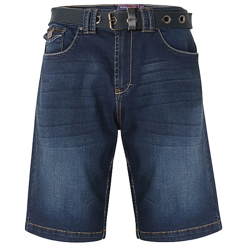 KAM Jeans Shorts Lopez mit Gürtel Dark Wash