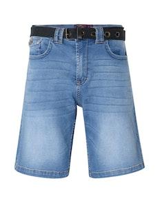 KAM Lopez Belted Denim Shorts Mid Wash