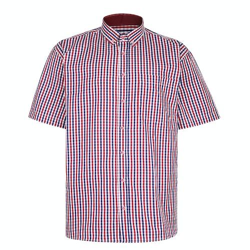 KAM Premium Gingham Check Shirt Red