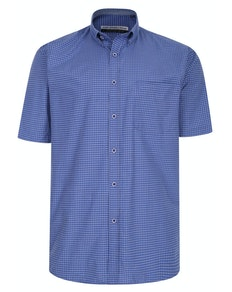 KAM Premium Mini Check Shirt Navy