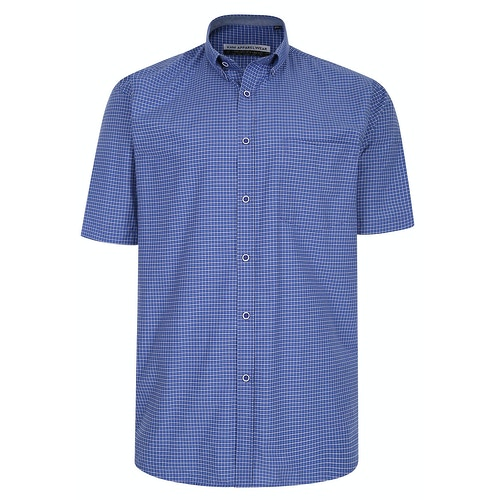 KAM Premium Mini Check Shirt Navy