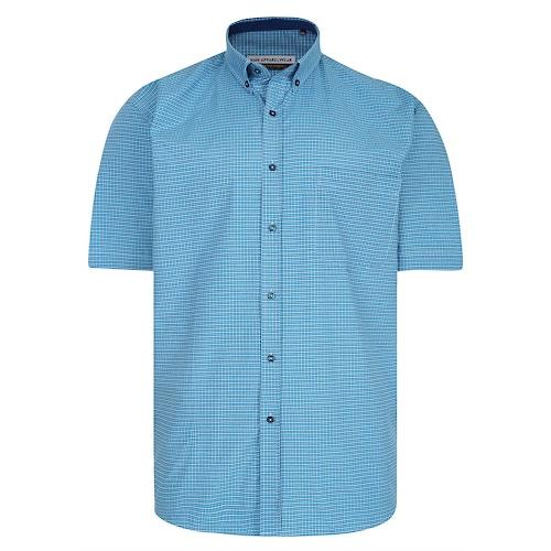 KAM Premium Mini Check Shirt Turquoise