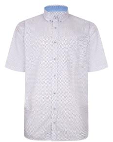 KAM Premium Dobby Print Shirt White