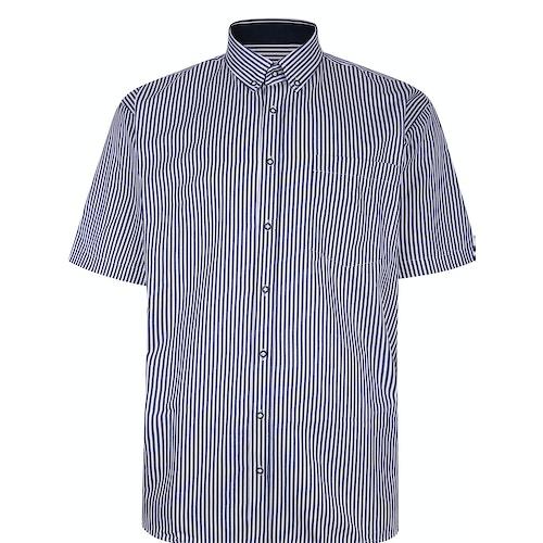 KAM gestreiftes Premium Kurzarmhemd Marineblau