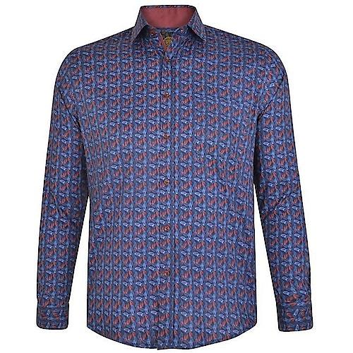 KAM Digital Leaf Print Shirt Navy