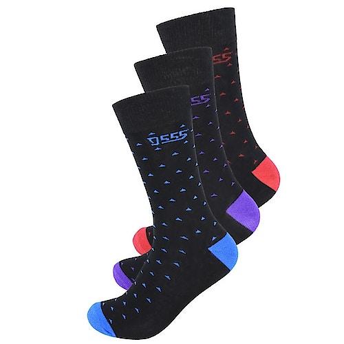 D555 Bolt 3 Pack Patterned Socks