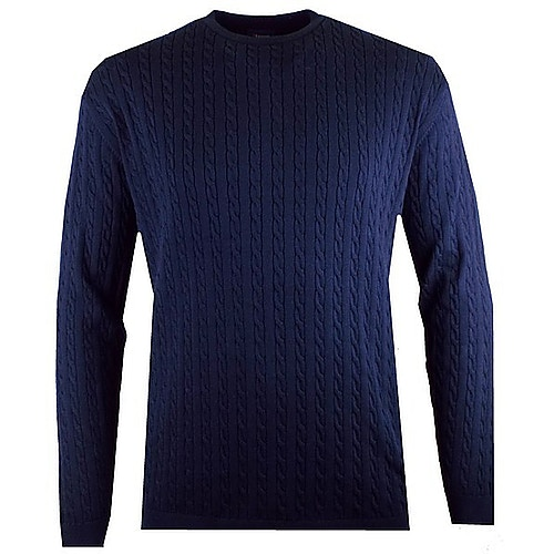 Espionage All Over Cable Knit Jumper Navy