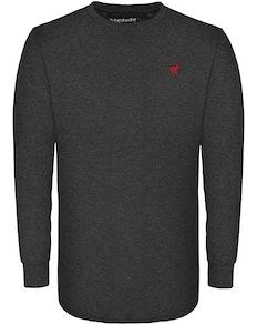 Bigdude Langarm Shirt mit Rundhalsausschnitt Grau Tall Fit