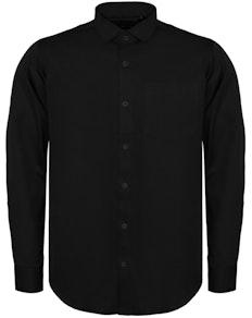 Bigdude Fine Twill Long Sleeve Shirt Black Tall