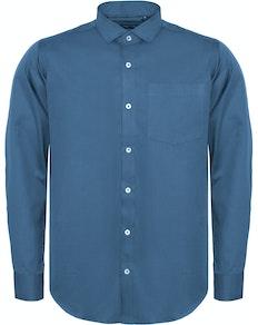 Bigdude Fine Twill Long Sleeve Shirt Blue