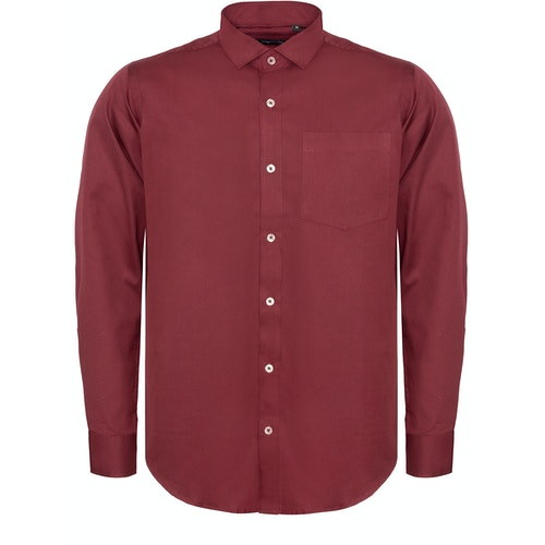 Bigdude Fine Twill Long Sleeve Shirt Burgundy
