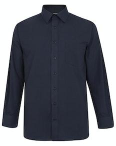 Bigdude Classic Long Sleeve Poplin Shirt Navy Tall