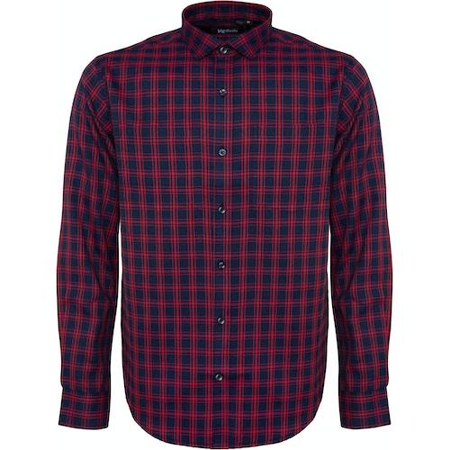 Bigdude Fine Check Long Sleeve Shirt Navy/Red
