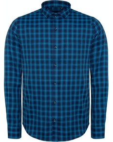 Bigdude Fine Check Long Sleeve Shirt Navy/Turquoise Tall