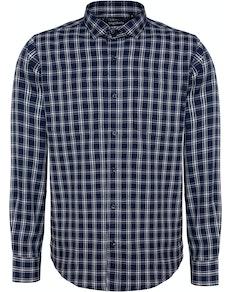 Bigdude Fine Check Long Sleeve Shirt Navy/White