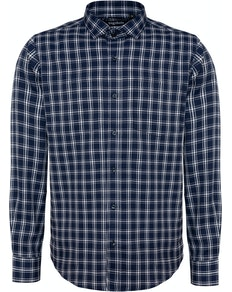 Bigdude Fine Check Long Sleeve Shirt Navy/White Tall