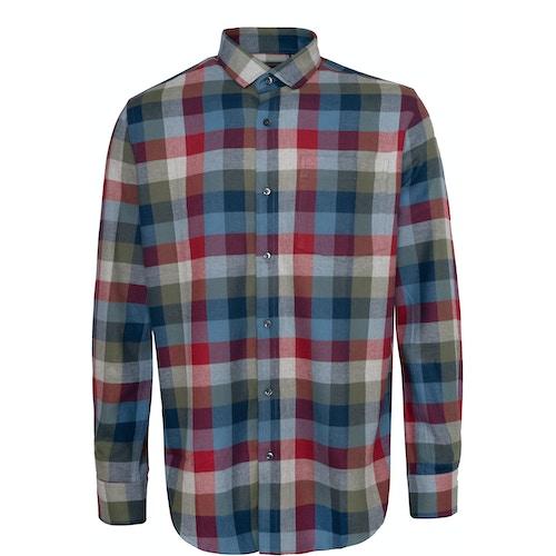 Bigdude Check Flannel Long Sleeve Shirt Red/Blue