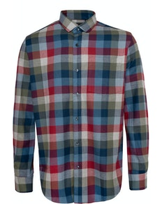 Bigdude Check Flannel Long Sleeve Shirt Red/Blue Tall