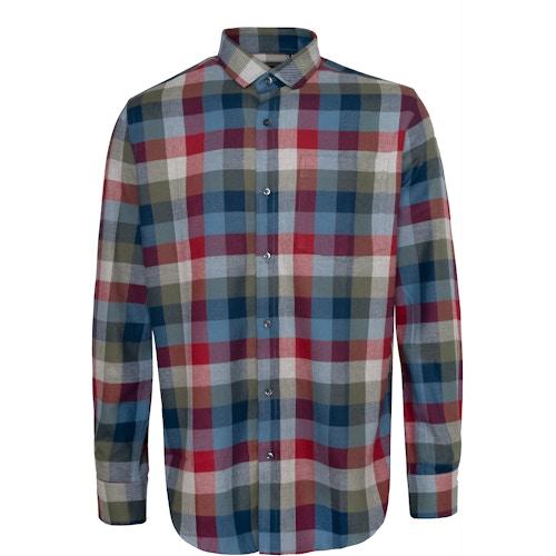 Bigdude Check Flannel Long Sleeve Shirt Red/Blue Tall