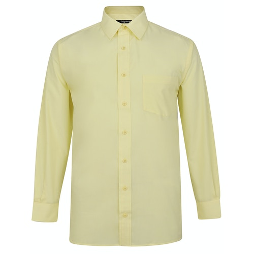 Bigdude Langarm Popeline-Hemd Gelb