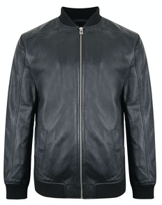 Tooting & Brow Leather Bomber Jacket Black