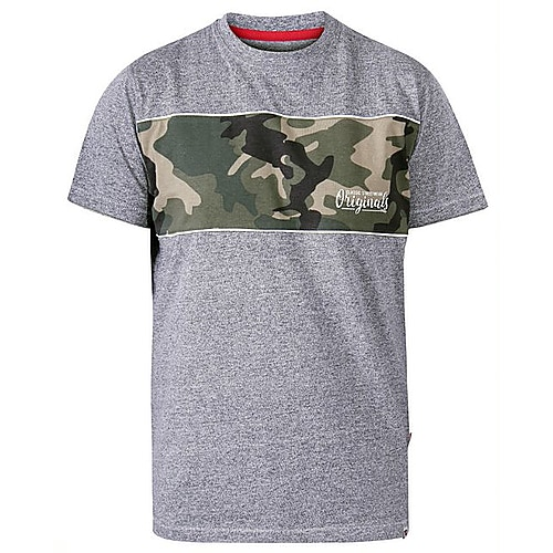 D555 Major Cut and Sew Camo Print Crew Neck T-Shirt Grey