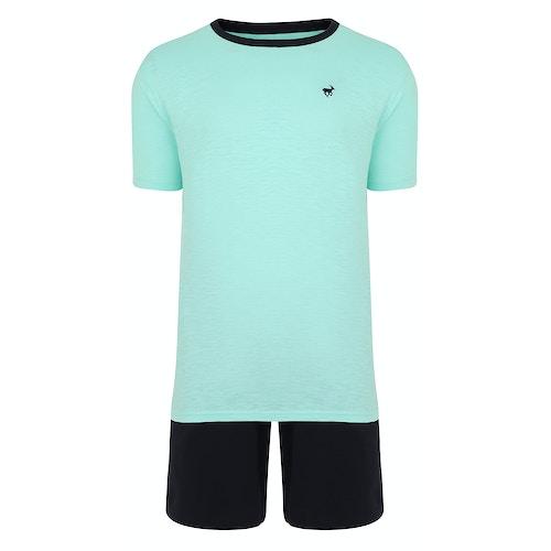 Bigdude Marl Slub Pyjama Short Set Green