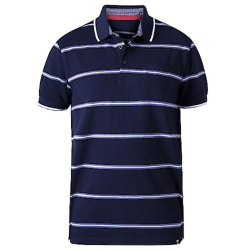 D555 Montego gestreiftes Pique Poloshirt Marineblau