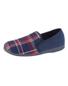 Sleepers Jim Tartan Memory Foam Slippers Navy