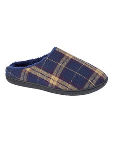 Zedzzz Fabian Checked Slippers Navy
