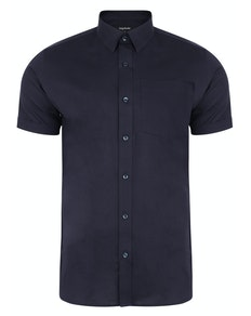Bigdude Short Sleeve Linen Woven Shirt Navy