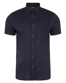 Bigdude Short Sleeve Linen Woven Shirt Navy Tall