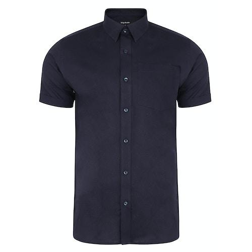 Bigdude Kurzarm Leinenhemd Marineblau Tall Fit