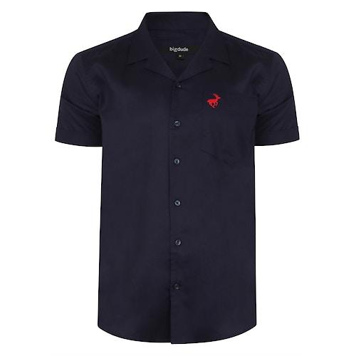 Bigdude Relaxed Collar Short Sleeve Shirt Navy