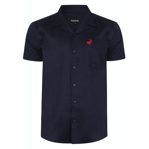 Bigdude Relaxed Collar Short Sleeve Shirt Navy Tall
