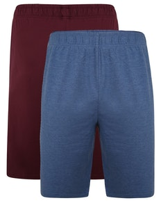 Bigdude Klassische Pyjama Shorts Doppelpack Blau/Weinrot