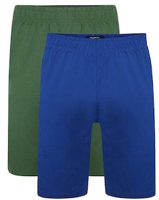 Bigdude Klassische Pyjama Shorts Doppelpack Grün/Blau