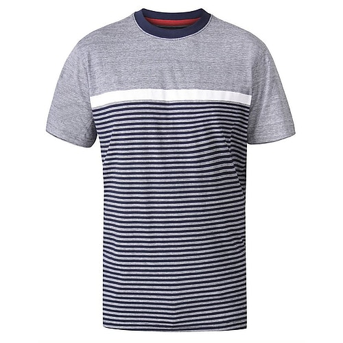 D555 Perkins Cut And Sew Jacquard T-Shirt Navy
