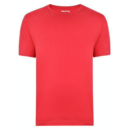 Bigdude Plain Crew Neck T-Shirt Red Space Cherry